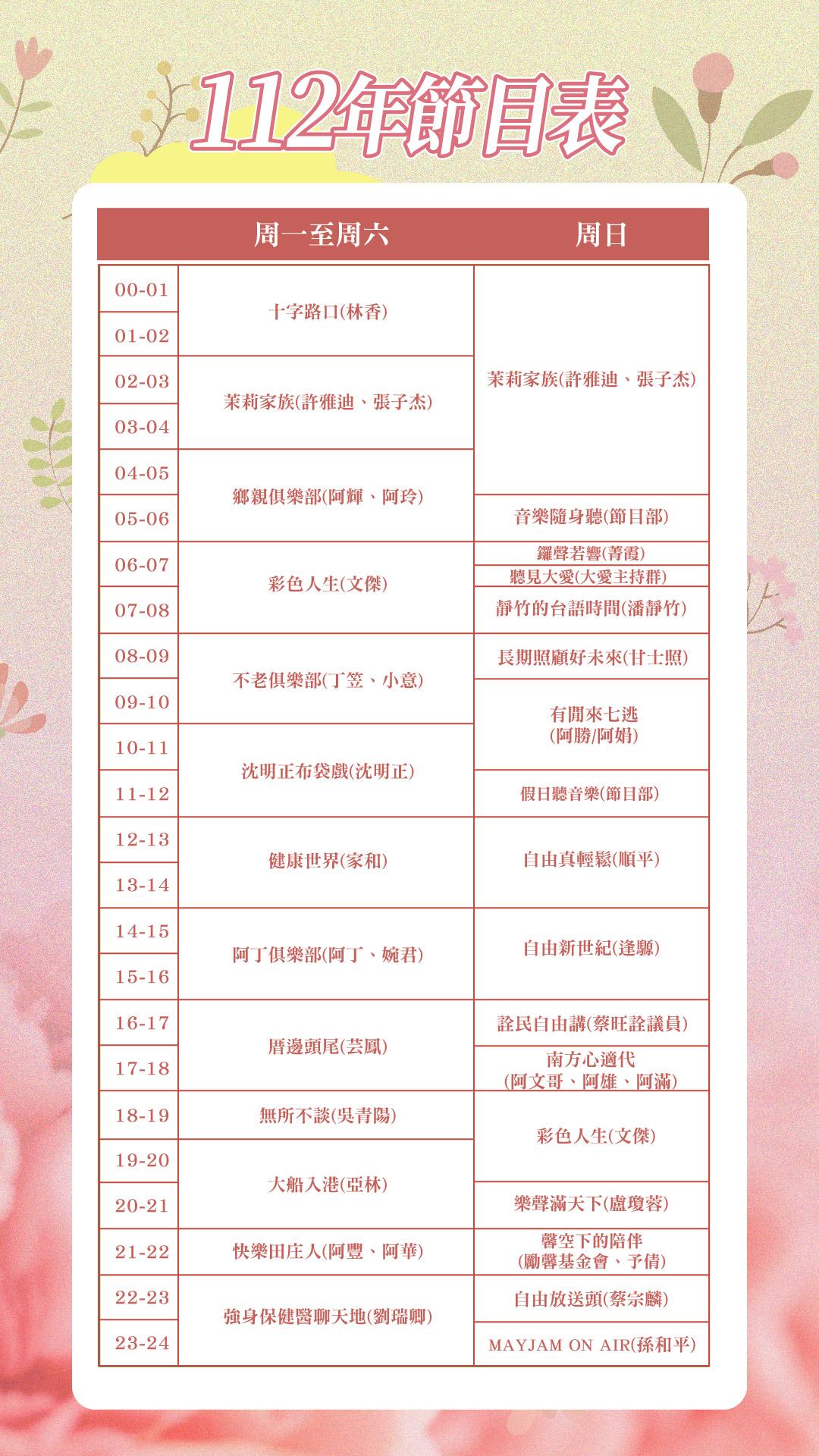 當月節目表